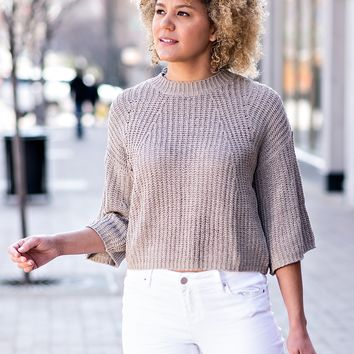 Bite The Bullet Bell Sleeve Sweater : Coffee
