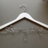 Army Wife Bridal Custom Wire Wedding Hanger with the extra special detail.  Great wedding and engagement gift.