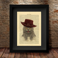 Cat Hat, At on Weekend print, Colorful flowers poster, Cat top hat, Dictionary Print poster, Dorm decor, Home Wall decor, Gift poster -26