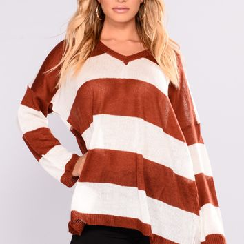 Audrey Oversize Sweater - Red Pattern