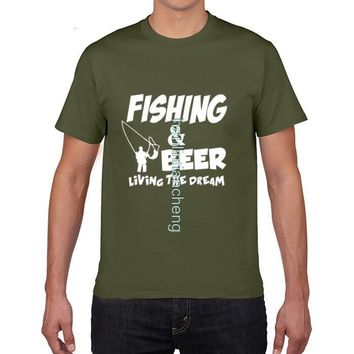 Fishing Beer Living The Dream T-Shirts - Men's Crew Neck Top Tees