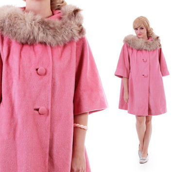 1960's Pink Lilli Ann Paris San Francisco Mod Swing Coat Soft Wool 60s Vintage Clothing Womens Size XL
