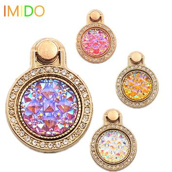 IMIDO gemstone Diamond 360 Degree Finger Ring Buckle Stand Holder Pop socket For Mobile Phone Universal all Smartphone support