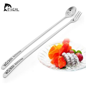 FHEAL New Heavy Long Handle Stainless Steel Cake Dessert Fruit Forks Spoon tableware Smile Face Spoons Forks Flatware