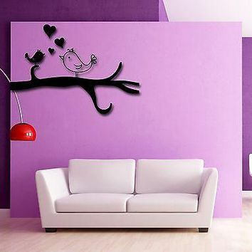 Vinyl Decal Wall Stickers Birds Heart Tree Branch Singing Romantic Decor Unique Gift (z1818)