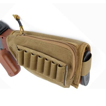 Tactical Rifle Stock Shotgun Ammo Buttstock Pouch Bullet Shells Cartridge Canvas Holster Cheek Rest Riser Pad Detachable Bag