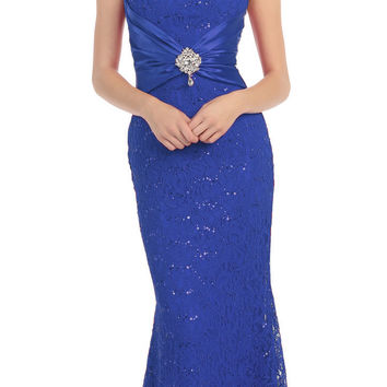 Short Sleeved V Neckline Long Royal Blue Lace Column Gown