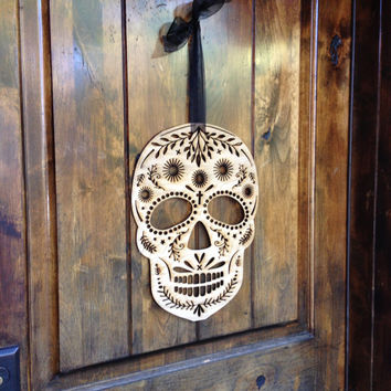 Wood scull halloween decoration - mexican day of the dead inspired sugar scull haloween decoration - laser cut wood door haning wreath decor