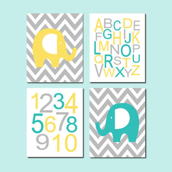 Elephant Nursery Decor, Elephant Nursery Wall Art, Boy Nursery Prints, Alphabet Letters, Numbers, Yellow Gray, Set of 4 Prints Or Canvas