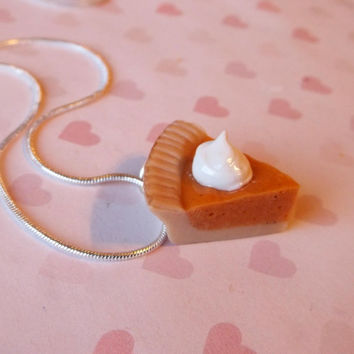 Pumpkin pie slice with whipped cream polymer clay necklace