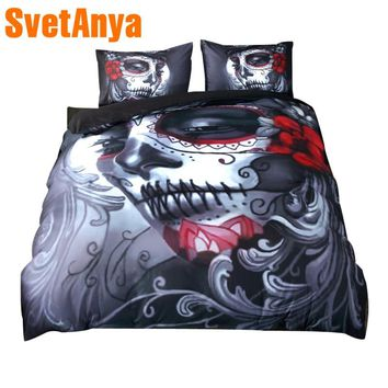 Svetanya Duvet Cover+Pillowcases cheap 3pc Bedding Sets Single Double Queen King Size Skull Printed