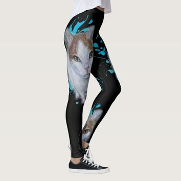 Drawing of Cat Art with Blue Paint Leggings