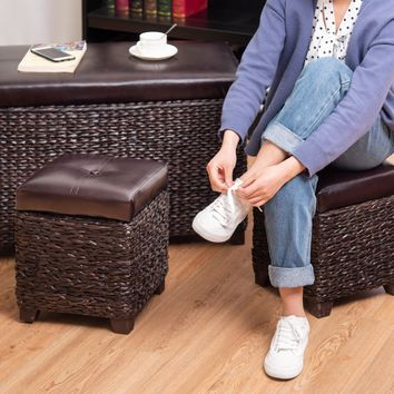 3 pcs Rattan Seating Storage Bench Hassocks Leather Ottoman This delicate and versatile set of ottoman storage stool is made of rattan, combined with pure natural material and excellent craftsmanship.