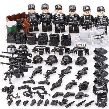 Compatible legoed Military ww2 Soldier SWAT Army Special Forces Team Soldiers Weapons Building Blocks kids toys child bricks