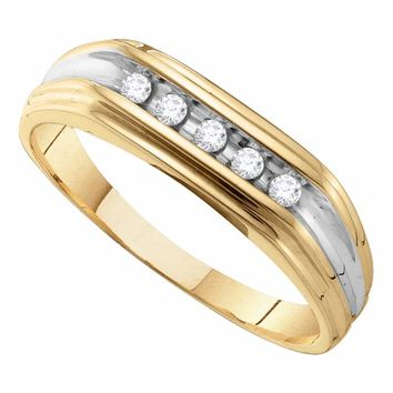 10kt Yellow Gold Mens Round Diamond Single Row Two-tone Wedding Band Ring 1/8 Cttw