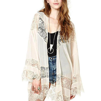 Beige Lace Crochet Long Sleeve Chiffon Cardigan