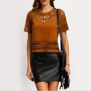 Brown Hollow Out Causal  T-shirt, B0016332