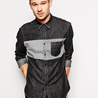 ASOS Denim Shirt in Long Sleeve With Stripe Panel at asos.com