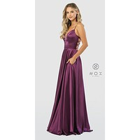 Purple A-Line Long Prom Dress Strappy Back with Pockets