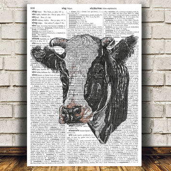 Farm animal poster Cow print Dictionary print Animal decor RTA692
