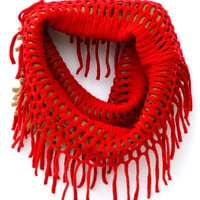 Two-Tone Red/Brown Ring Scarf