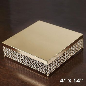 BalsaCircle 14-Inch wide Gold Crystal Beaded Square Metal Cake Stand - Birthday Party Wedding Dessert Pedestal Centerpiece Riser