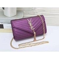 YSL tassell Women Shopping Leather Metal Chain Crossbody Satchel Shoulder Bag Purple