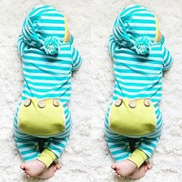 Newborn Infant Baby Boy Girl Clothing Cute Hooded Clothes Romper Long Sleeve Striped Jumpsuit Baby Boys Outfit