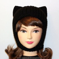 Black Cat Hat, Knit Cat's Ears Hat, Womens Cat Cap, Cap Helmet, art. 40
