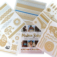 Namaste Collection Metallic Tattoos Gold and Silver Flash By Modern Boho