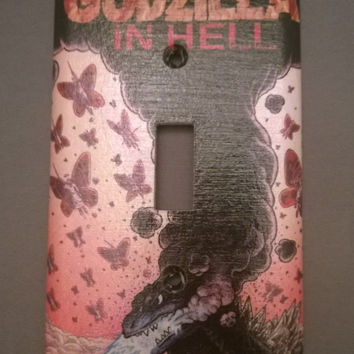Godzilla comic book decoupage light switch cover