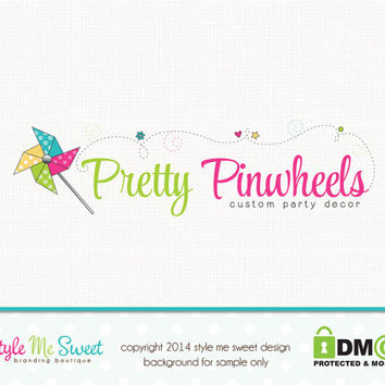 Custom Premade Party Logo Pinwheel Logo Hand Drawn Small Business Boutique Logo Design