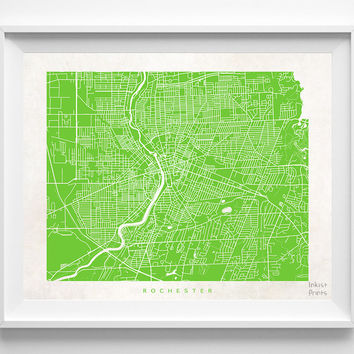 New York, Rochester, Print, Map, NY, Poster, State, City, Street Map, Art, Decor, Town, Illustration, Room, Wall Art, Customize