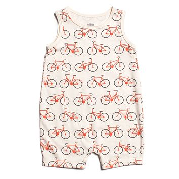 Orange Bicycles Tank Romper by Winter Water Factory