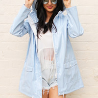PVC Festival Raincoat Mac in Baby Blue