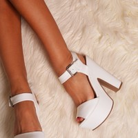 Bundaburg White Chunky Ankle Strap Wedge Heels | Pink Boutique