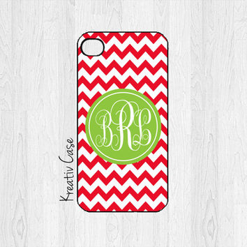 iPhone 4 Case, iPhone 4S Case - Christmas Chevron  - Personalized iPhone Cover - K191
