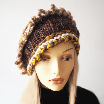 Multicolor knit crown, Ready to ship, Fashion knit hat, OOAK hat, Brown crochet hat, Chunky knit cloche , Woman knit hat, Warm winter hat