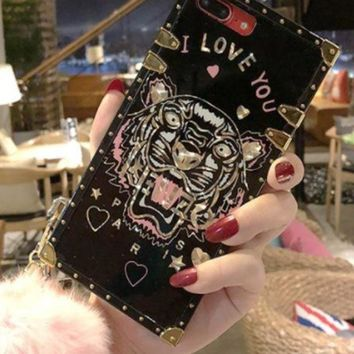 VONEYW7 kenzo tiger iphone8 full bag silicone iphone6plus protection shell 7p female hair ball female