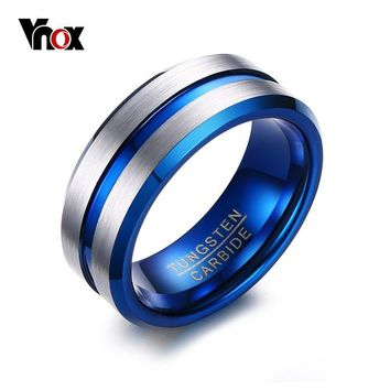 Vnox 8mm Thin Blue Line Tungsten Carbide Ring Wedding Band