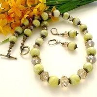 Lemon Jasper and Khaki Quartz 19 inch Chunky Necklace Set | KatsAllThat - Jewelry on ArtFire