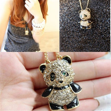 [Crazy Cute Vintage Rhinestone Panda Love Sweater Chain Necklace Pendant = 5988103809