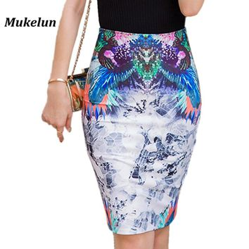High Waist Pencil Skirts Women  Fashion Print Casual Back Split Knee Length Ladies Summer Slim Bodycon Tube Wrap Midi Skirts