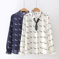 Mini Dachshund Pearl Collared Blouse