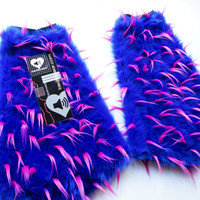 MADE TO ORDER Blue & pink spiked Fluffies Fuzzy Leg Warmers fluffy boot covers rave