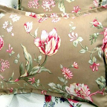 "MARGATE MEWS FLORAL - Pair Custom Made Decorative Boudoir Pillow Shams 12"" X 16"" - Ra"