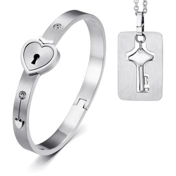 SHIPS FROM USA Fashion Gold / Silver Lovers Couple Heart Lock Bracelet Bangles with Lock Key Pendant Neclkace Titanium Steel Jewelry Sets