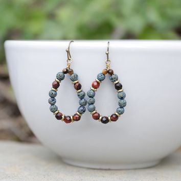 'Grounding' Red Tiger's Eye Aromatherapy Earrings