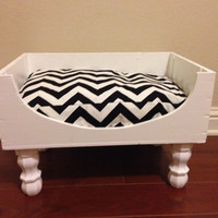 Upcycled Wine Crate Dog Bed Black And White Chevron With Hi Gloss White Paint