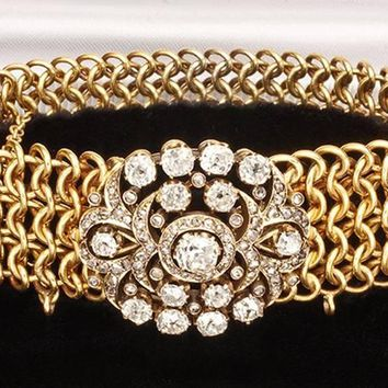 1840 Rare Russian Diamond Gold Bracelet